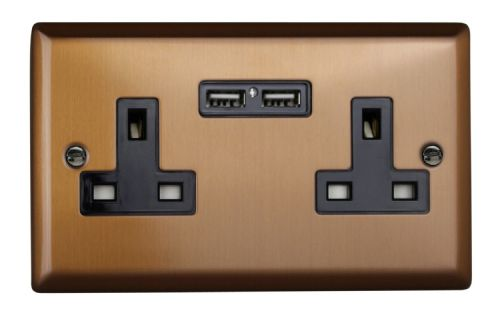Varilight XY5U2B.BZ Urban Brushed Bronze 2 Gang Double 13A Unswitched Plug Socket 2.1A USB